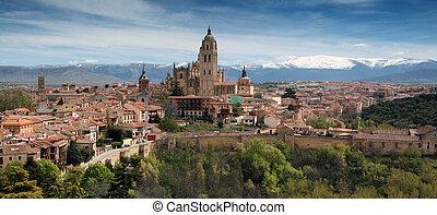góra, ostatni, Budowany, guadarrama, od, gotyk, Segovia,...