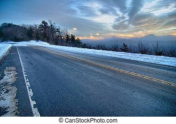 góra, północ, brązowy, wizje lokalne, sceniczny darują, zachód słońca, carolina