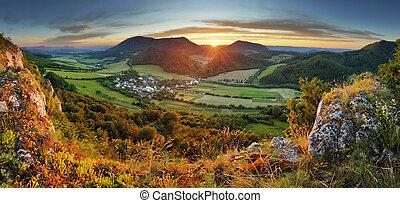 góra, panoramiczny, -, las, prospekt
