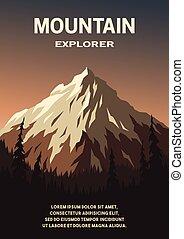 góra, poster., las, krajobraz