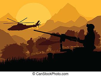góra, przewóz, natura, armia, ilustracja, pistolety, żołnierz, wektor, śmigłowce, tło, dziki, pustynia krajobraz