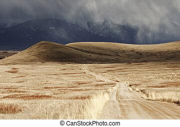 góra, przez, chmura, burza, jałowy, chwilowy, krajobraz