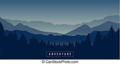 góra, przygoda, las, krajobraz, noc