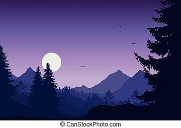 góra, purpurowy, przelotny, niebo, las, pod, ptaszki, krajobraz