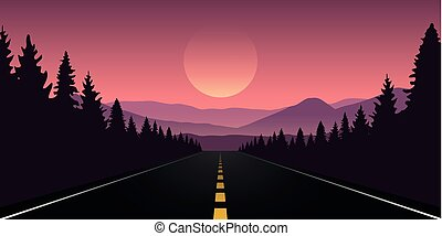 góra, purpurowy, straigth, krajobraz, las, droga