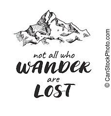 góra, rys, handwrited, quote., wektor, rysunek