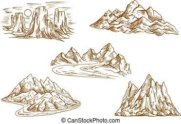 góra, rys, krajobrazy, retro, ikony