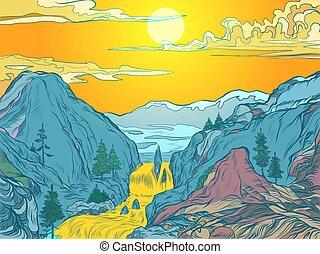 góra, słońce, albo, park, uciekanie się, góry, kasownik, rzeka