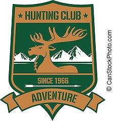 góra, skalisty, polowanie, łoś, projektować, odznaka