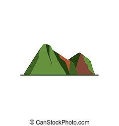 góra, styl, ikona, szpice, płaski
