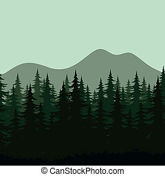 góra, sylwetka, krajobraz, seamless, las