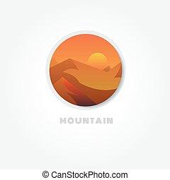góra, symbol, wektor, natura