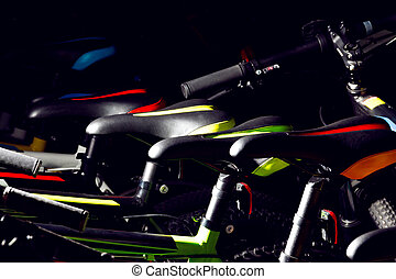 góra, szczelnie-do góry, na wolnym powietrzu, kolarstwo, barwny, od-drogi, bicycles, profesjonalny
