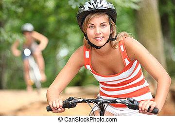 góra, teenage, rower, dziewczyna