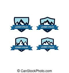 góra, wektor, projektować, szablon, logo