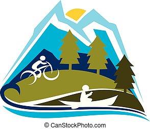 góra, wektor, projektować, szablon, logo, sport