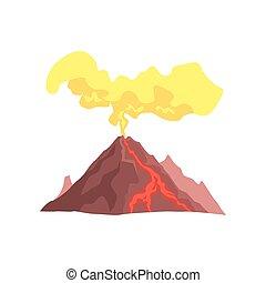 góra, wulkaniczny, lawa, magma, gorący, wektor, ilustracja,...