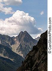 góra, za, formacja, daszek, chmura