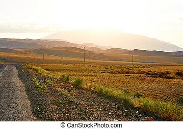 góra, zachód słońca, droga, krajobraz