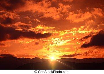 góra, zachód słońca, krajobraz