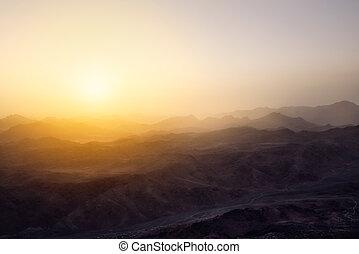 góra, zdumiewający, egypt?, wschód słońca, sinai