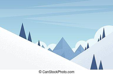 góra, zima, śnieg, sosna, tło, drewna, drzewa, krajobraz, las
