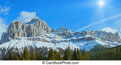 góra, zima, dolomity, panorama, (great, road)., skalisty