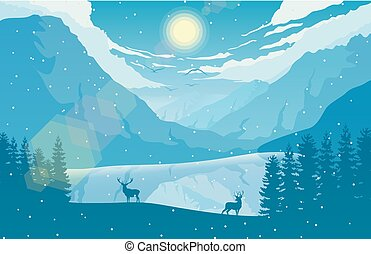 góra, zima, jeleń, jezioro, dwa, las, krajobraz