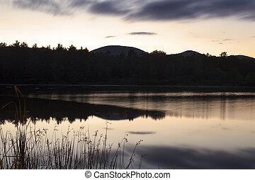 górki, berkshire, zmierzch, massachusetts., jezioro, western, onota
