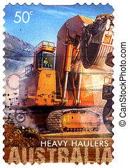 górnictwo, -, ciężki, australia, holowniki, mechanizm, 2008, circa, opisywanie, australijski, pocztowy, tłoczyć, odwołany, :