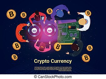 górnictwo, pojęcie, kąt, bitcoins, handlowy zaludniają, górny, crypto, prospekt