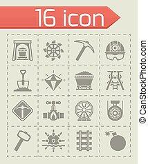 górnictwo, wektor, komplet, ikona