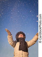 górny, śnieg, dziewczyna, rzuty