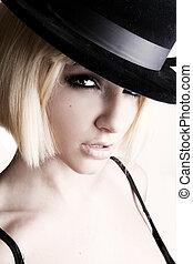 górny, kobieta, kapelusz