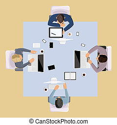 górny, ludzie, brainstorming, prospekt