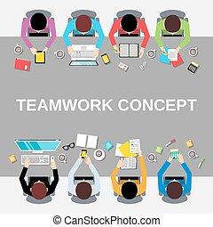 górny, ludzie, teamwork, prospekt