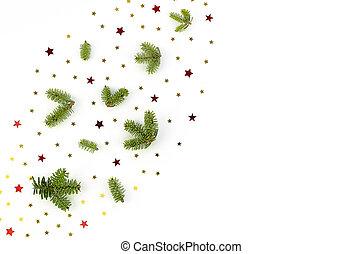 górny prospekt, confetti, pieśń, przestrzeń, drzewo, boże narodzenie, ułożyć, biały, tło., gałęzie, gwiazdy, płaski, kopia