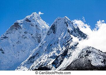 górski krajobraz, ama, himalaje, dablam, obsada