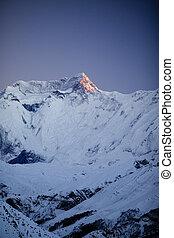 górski krajobraz, nepal, annapurna rząd, inspiracyjny