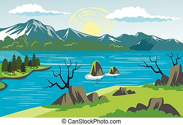 górski krajobraz, tło, jezioro, piękno