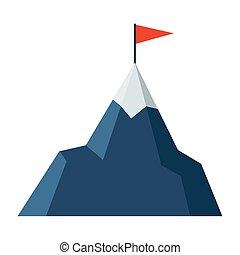 górski szczyt, bandera, śnieżny