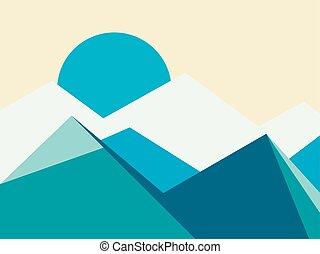 górskie daszki, płaski, ilustracja, wektor, style., krajobraz