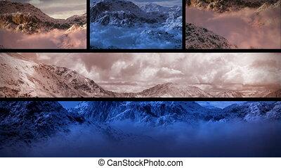 góry, śnieżny, (1130), zachód słońca, skład, pętla