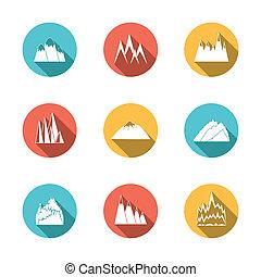 góry, śnieżny, komplet, ikony