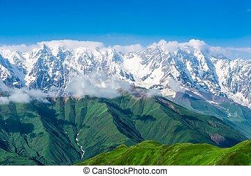 góry, śnieg-capped
