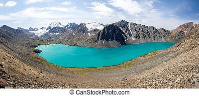 góry, ala-kul, panorama, jezioro, tien, shan