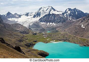 góry, ala-kul, shan, tien, jezioro