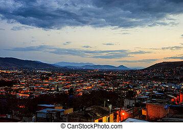 góry, antena, meksyk, puebla, tło, prospekt, sunset.