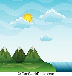 góry, chmury, słońce, daszek, rzeka krajobraz
