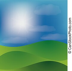 góry, dolina, i błękitny, słoneczny, niebo